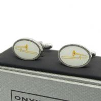 Trombone Cufflinks by Onyx-Art New Gift Boxed CK1090